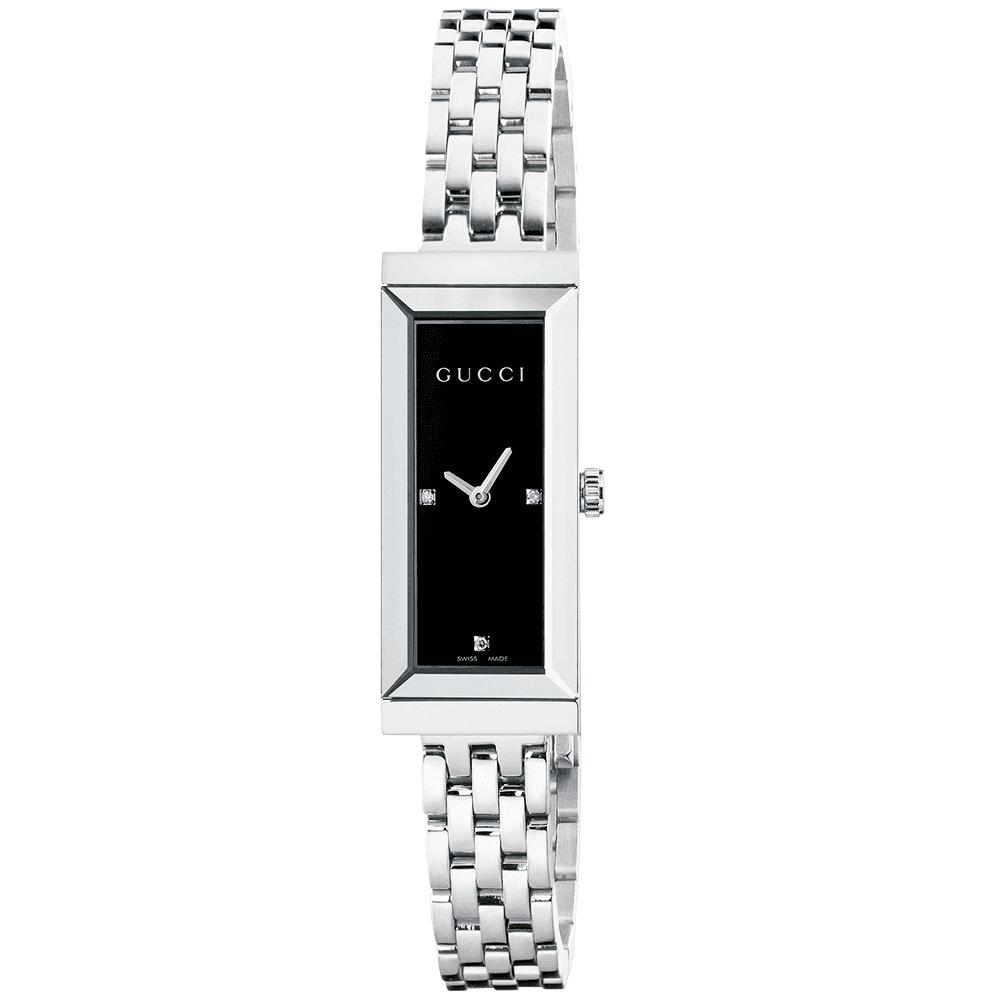 b904cf06516 Gucci G-Frame Black Diamond Dial Ladies Bracelet Watch YA127504