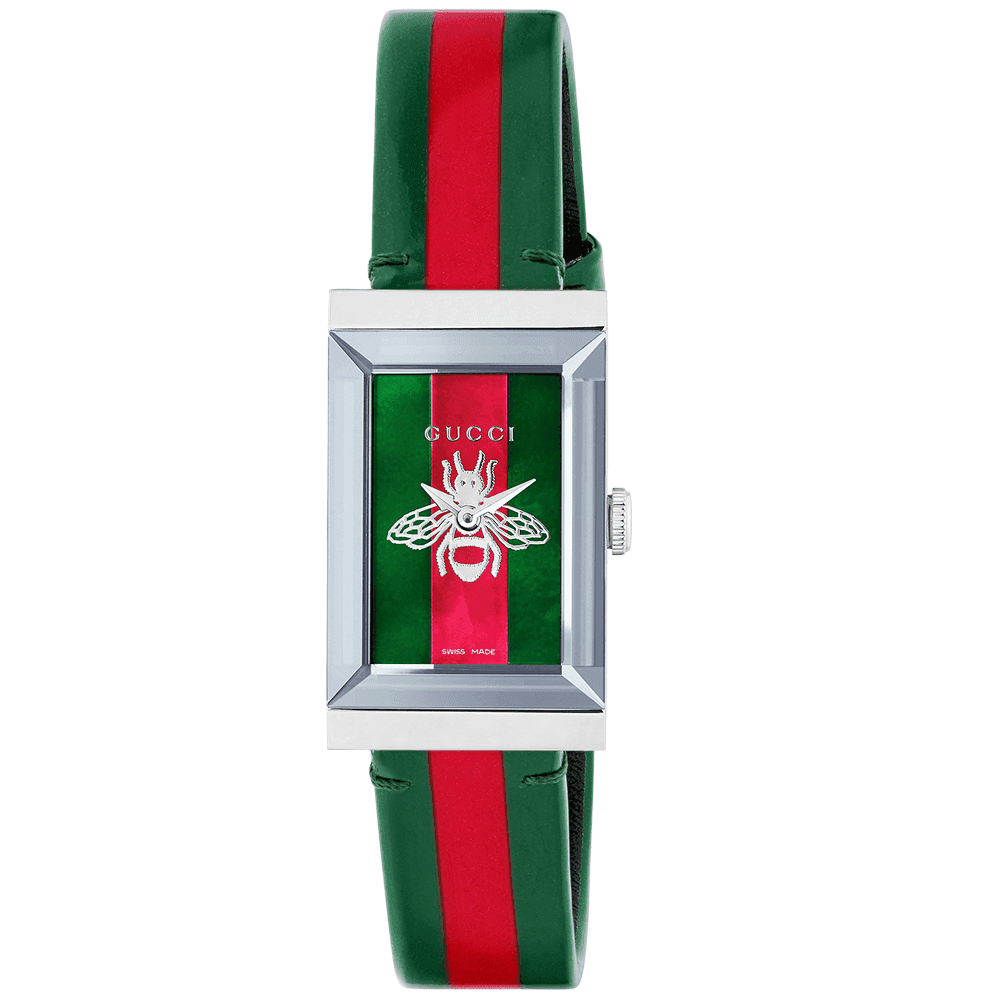 46d9cd570c3 Gucci G-Frame Red Green Mother of Pearl Bee Motif Dial Ladies Watch