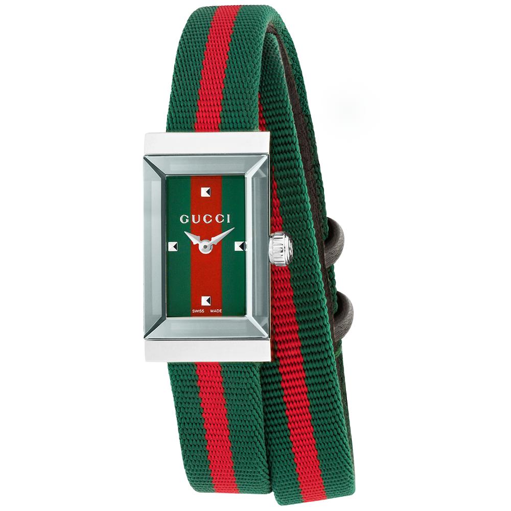 Gucci G-Frame Red/Green Multicolour Fabric Strap Ladies Watch YA147503