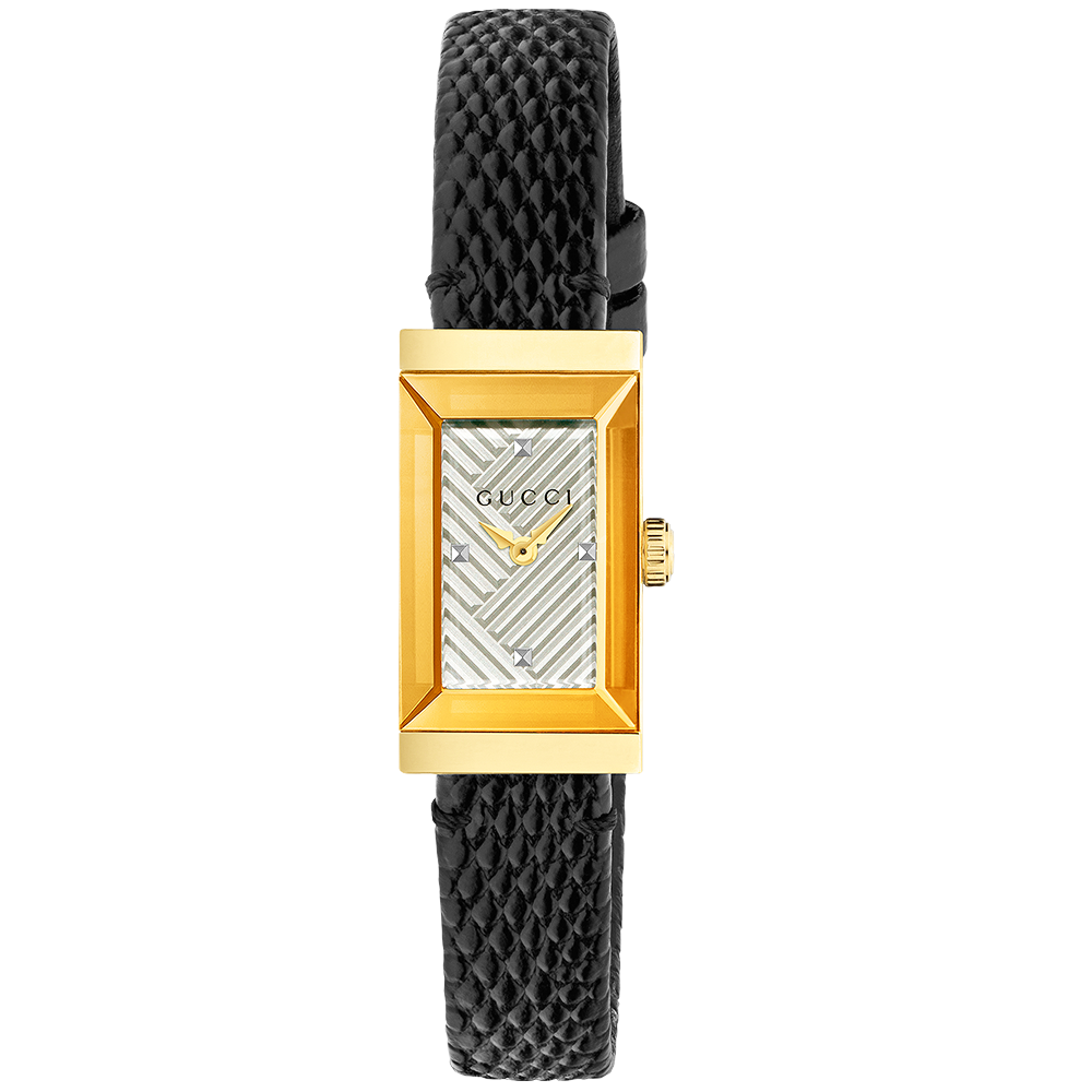 6afeafe6b96 Gucci G-Frame Small Yellow Gold PVD Silver Dial Ladies Watch YA147507