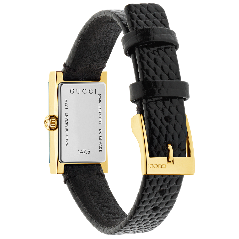 Gucci G-Frame Small Yellow Gold PVD Silver Dial Ladies Watch YA147507