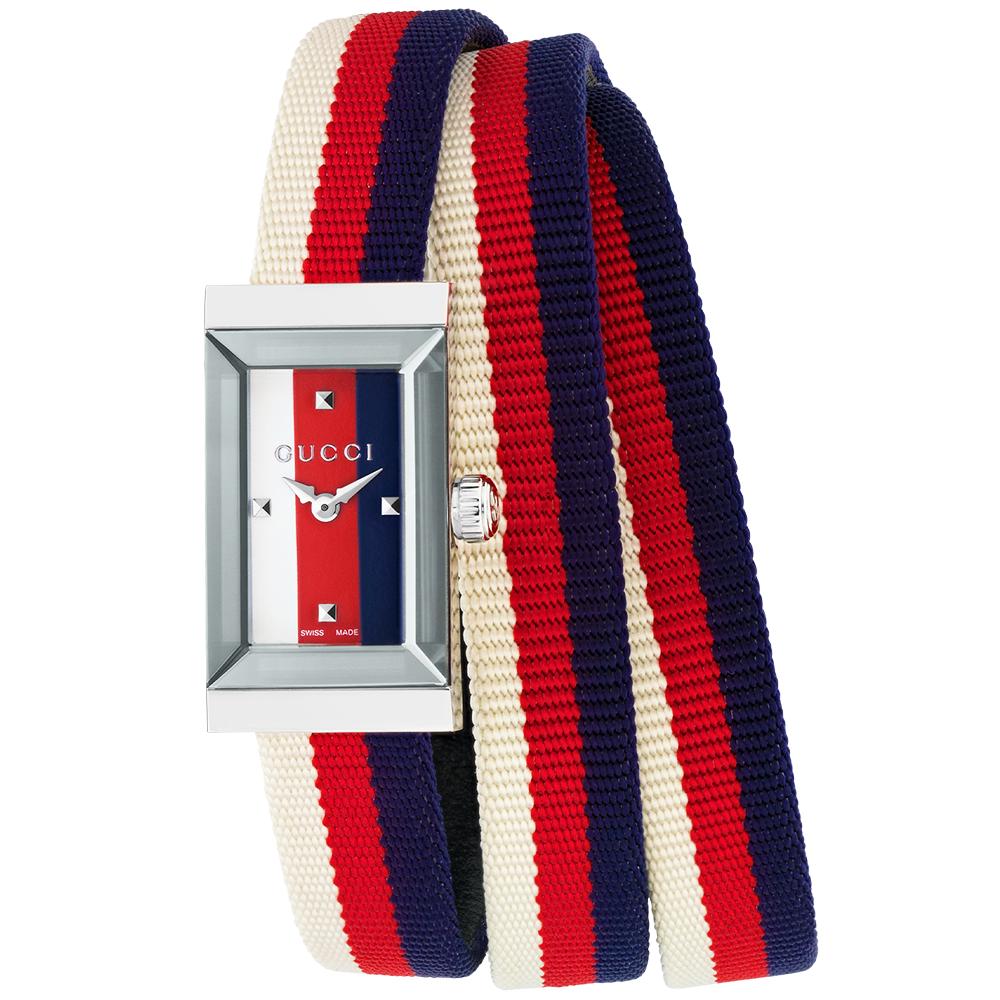 Gucci G-Frame Steel & Multicolour Fabric Strap Ladies Watch YA147502
