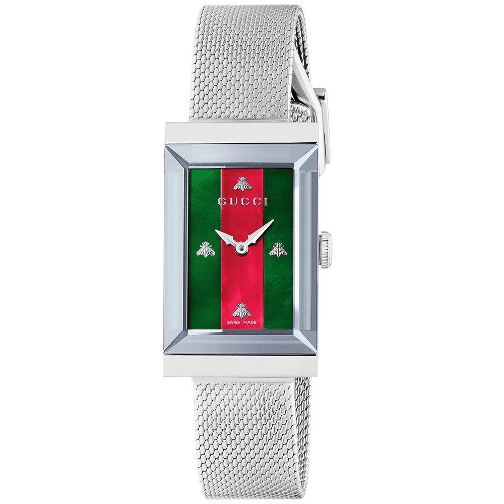 1804a784c51 G-Frame Steel  amp  Red Green Mother of Pearl Dial Ladies Bracelet Watch