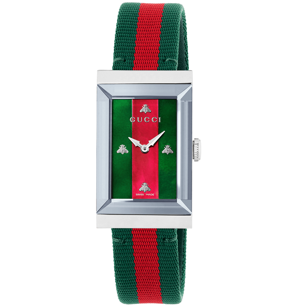 5829a313eee Gucci G-Frame Steel   Red Green Mother of Pearl Dial Nylon Strap Watch