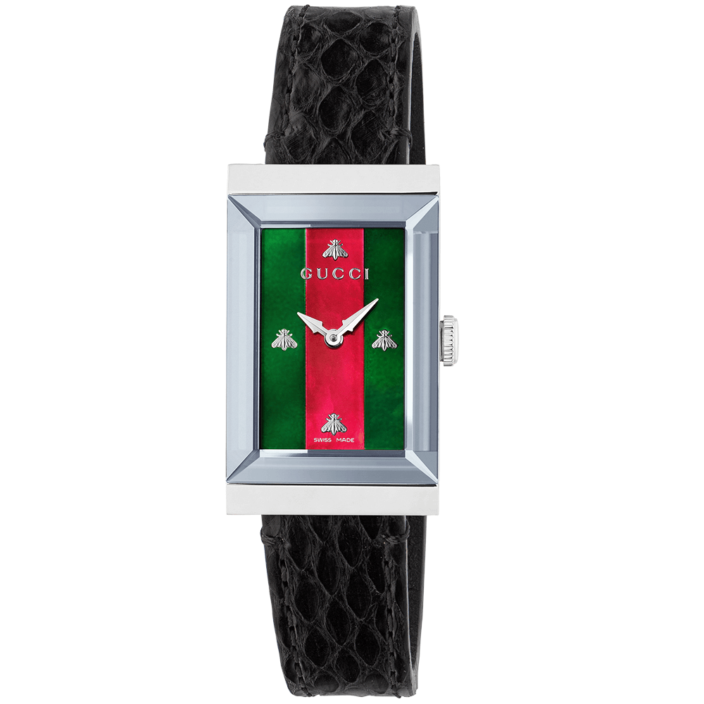 b4ddeaa9bde G-Frame Steel  amp  Red Green Mother of Pearl Dial Ladies Strap Watch