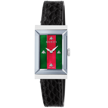 G-Frame Steel & Red/Green Mother of Pearl Dial Ladies Strap Watch