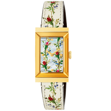 G-Frame Yellow Gold PVD White Mother of Pearl Bloom Dial & Strap Watch