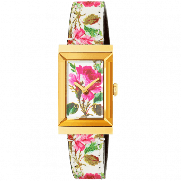 G-Frame Yellow Gold PVD White Mother of Pearl Floral Dial & Strap Watch