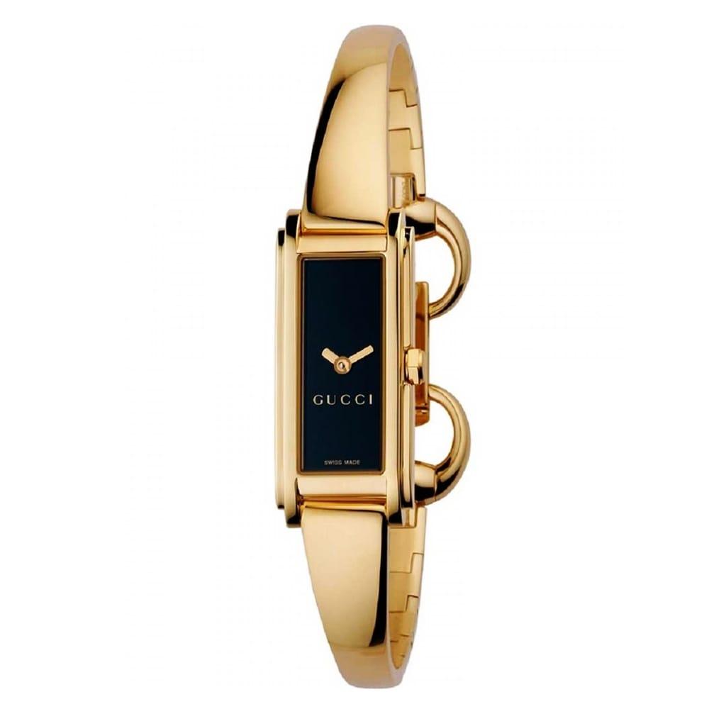 Gucci g line yellow gold black dial ladies bangle watch ya109526 for Ladies bangle watch