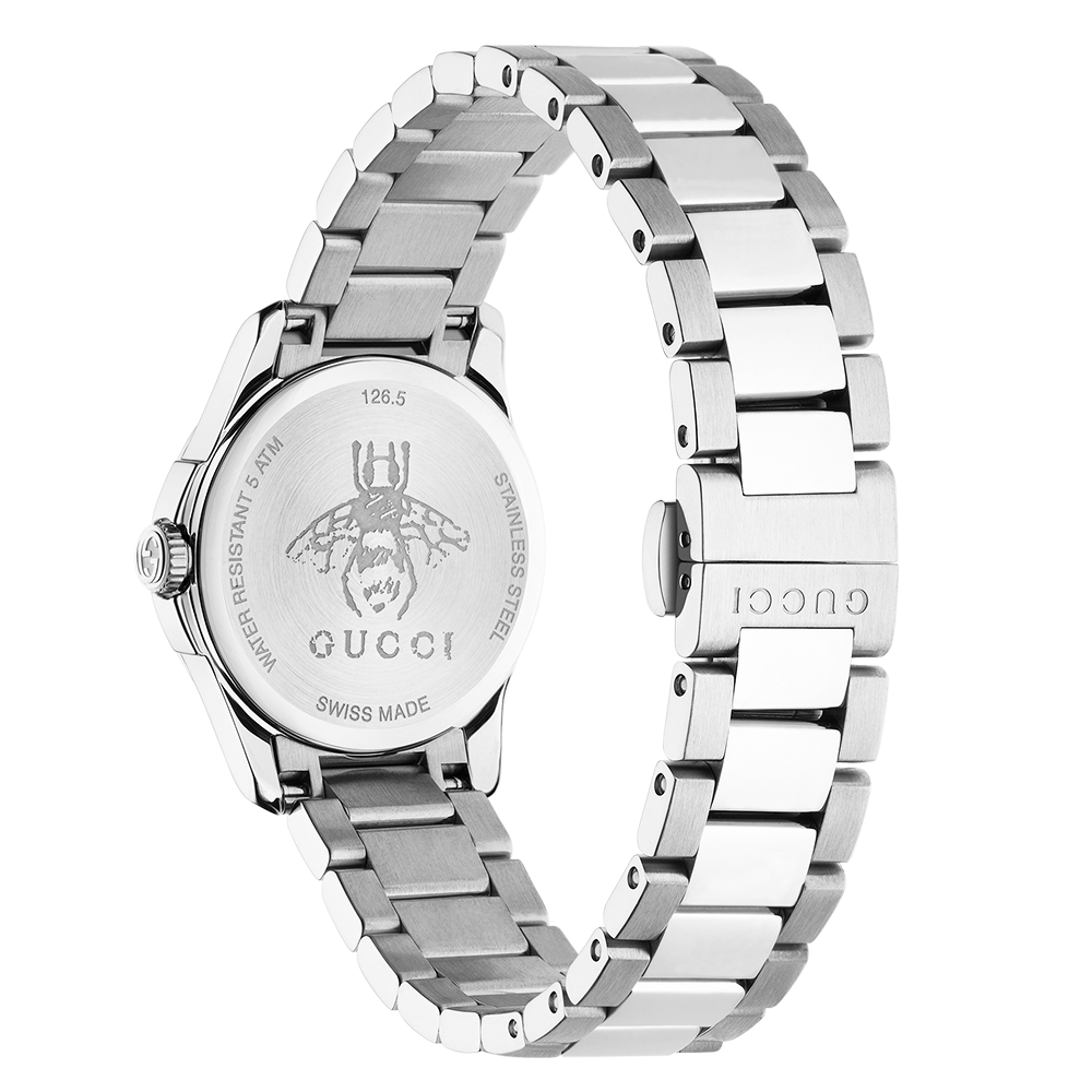 3ea976912a8 Gucci G-Timeless 27mm Black Motif Dial Ladies Bracelet Watch YA126573