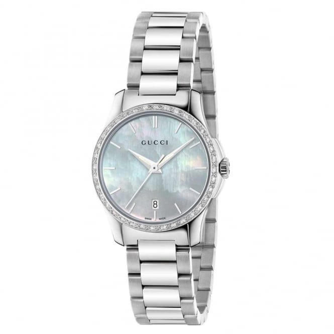 9906eee0f4d gucci g timeless 27mm white mother of pearl   diamond set bezel watch  ya126525