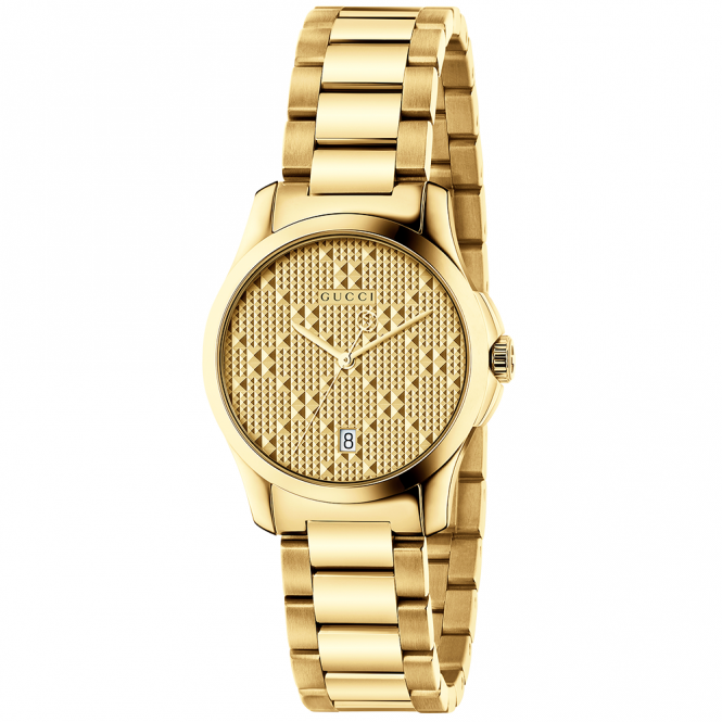 Gucci G-Timeless 27mm Yellow Gold PVD & Patterned Dial Watch