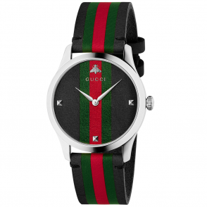 e715e5a1809 G-Timeless 38mm Black Red Green Vertical Stripe Dial   Strap Watch