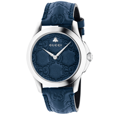 G-Timeless 38mm Blue Dial & Leather Strap Watch