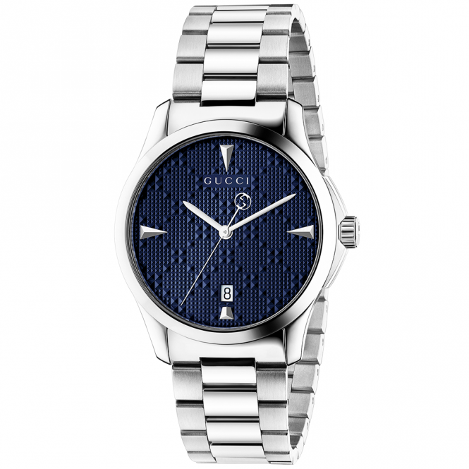 Gucci G-Timeless 38mm Blue Diamante Dial Bracelet Watch
