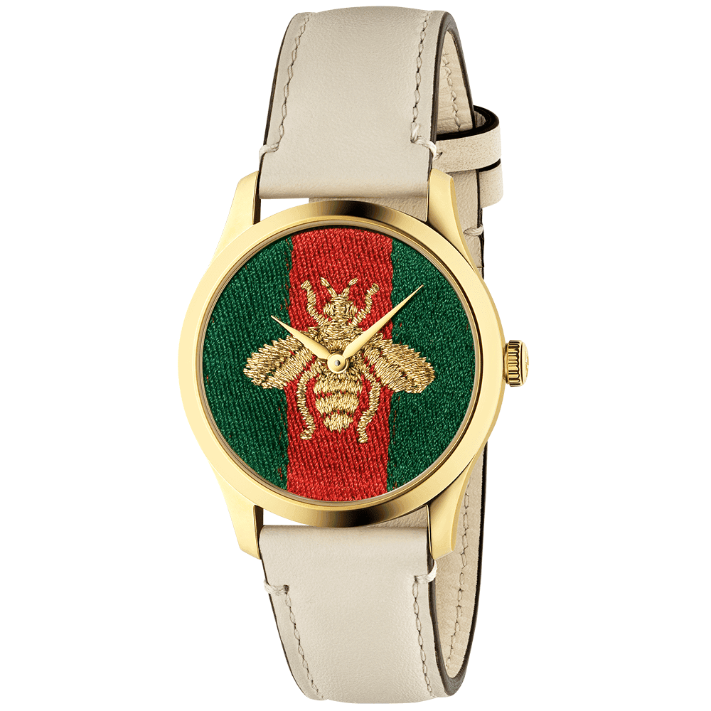 017dbc6e1 Gucci G-Timeless 38mm Embroidered Golden Bee Dial Leather Strap ...
