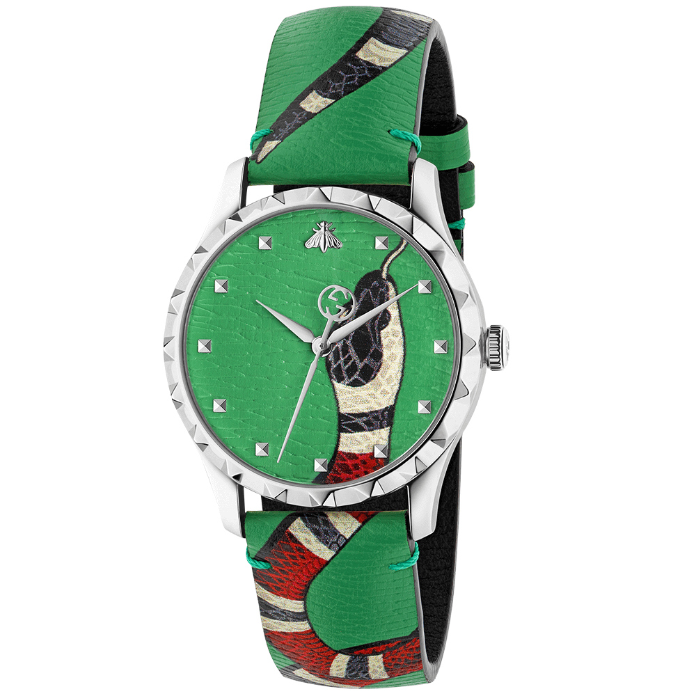 6003ca0ffe2 Gucci G-Timeless 38mm Green Kingsnake Dial   Leather Strap Watch