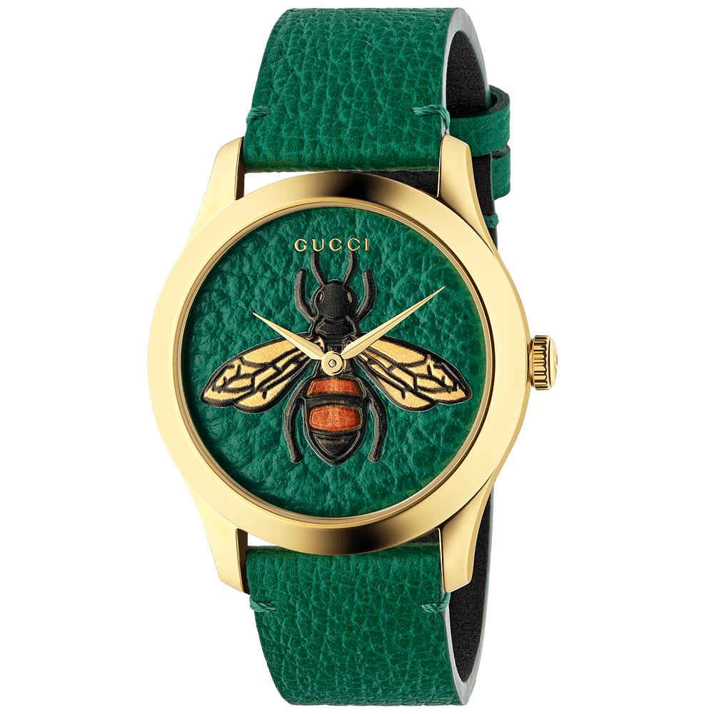 dd62b0b3976a G-Timeless 38mm Green Leather  amp  Bee Motif Dial  amp  Strap Watch