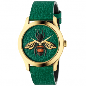 df7303a0def G-Timeless 38mm Green Leather   Bee Motif Dial   Strap Watch