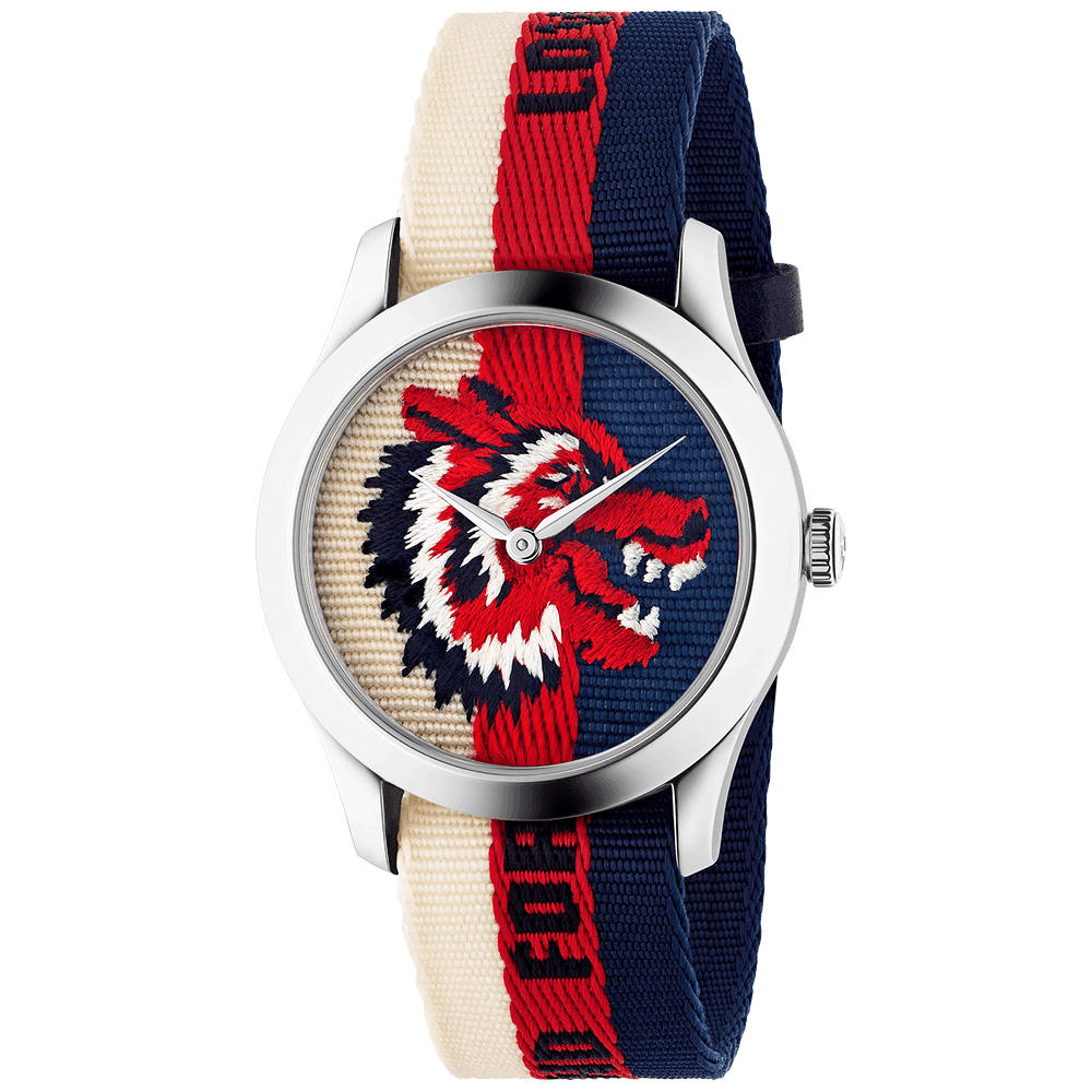 e7775d68728 Gucci G-Timeless 38mm Red Blue   White Wolf Motif Dial   Strap Watch