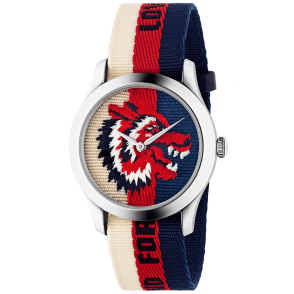78fcc61afad G-Timeless 38mm Red Blue   White Wolf Motif Dial   Canvas Strap Watch