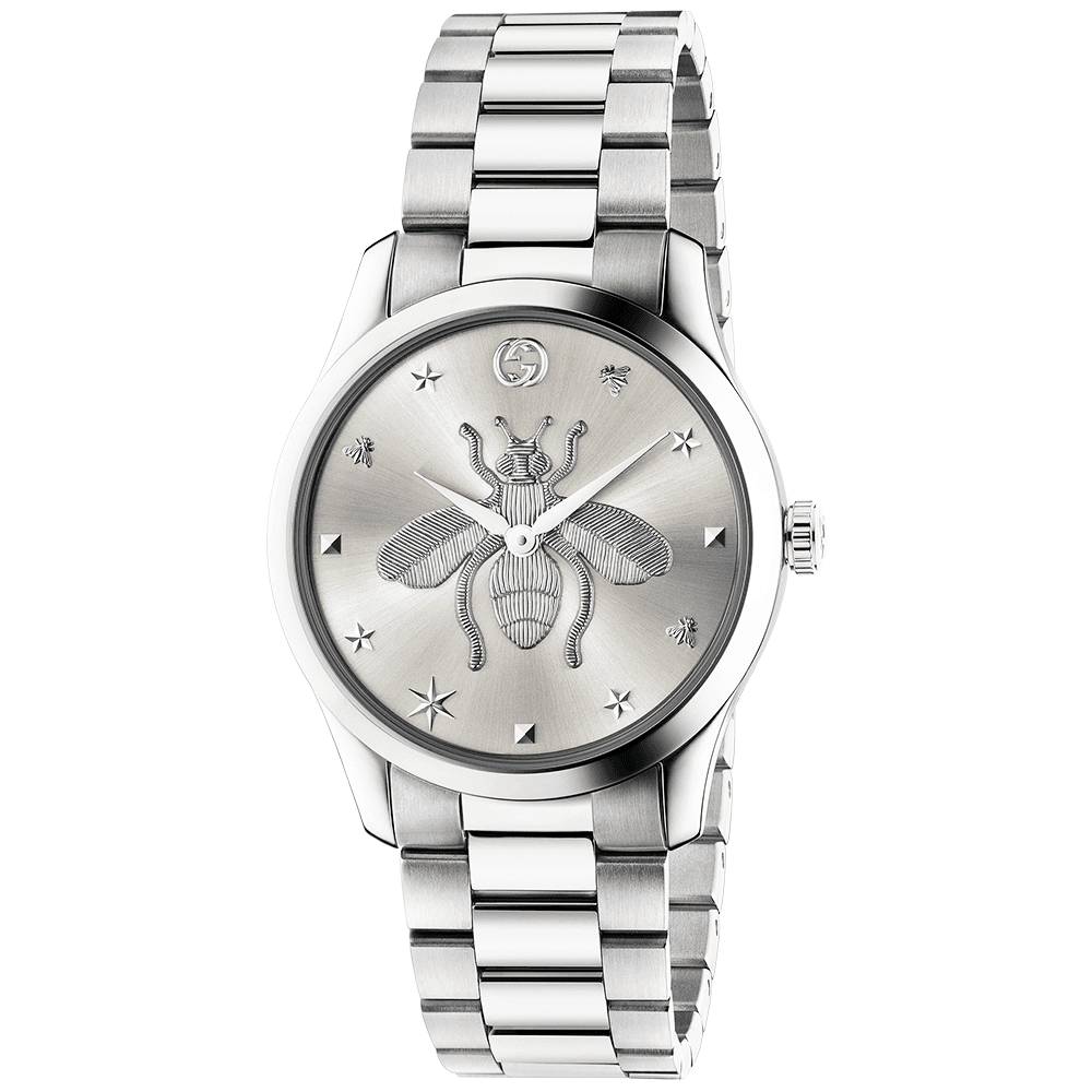 d5b71c171 Gucci G-Timeless 38mm Silver Bee Motif Dial Ladies Bracelet Watch