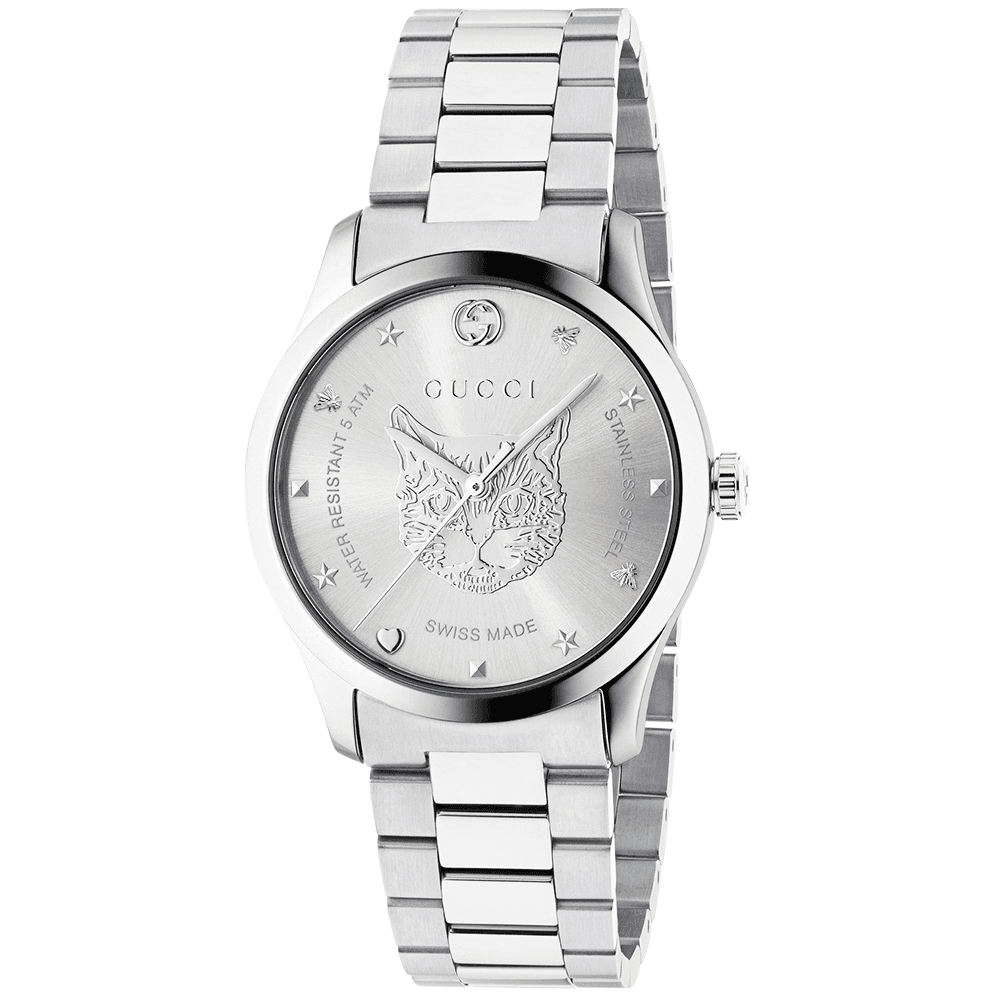 cd55d620b Gucci G-Timeless 38mm Silver Feline Dial Ladies Bracelet Watch