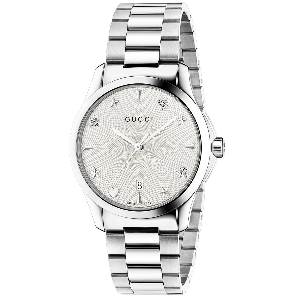 G Timeless 38mm Silver Motif Dial Ladies Bracelet Watch