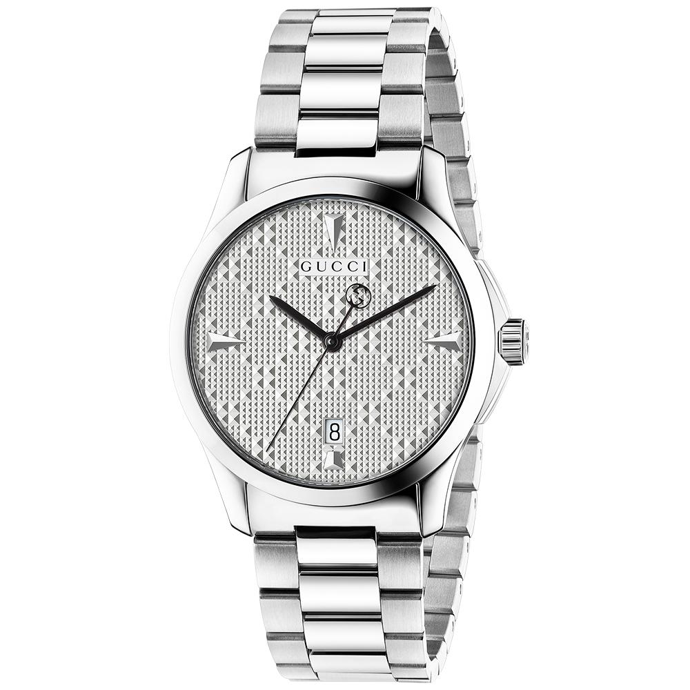 8c77be5dd6e Gucci G-Timeless 38mm Silver Patterned Dial Quartz Bracelet Watch