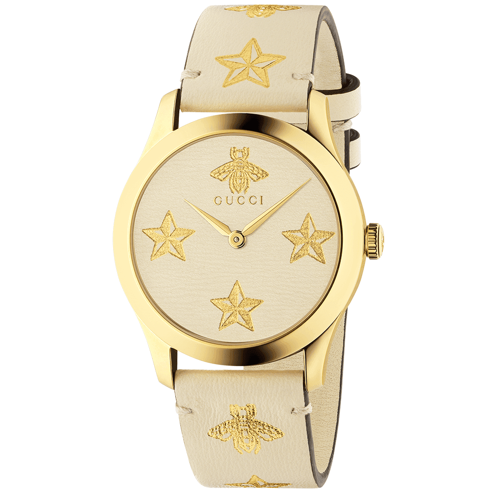 137f62cd752 Gucci G-Timeless 38mm Star   Bee Motif White Dial   Strap Watch