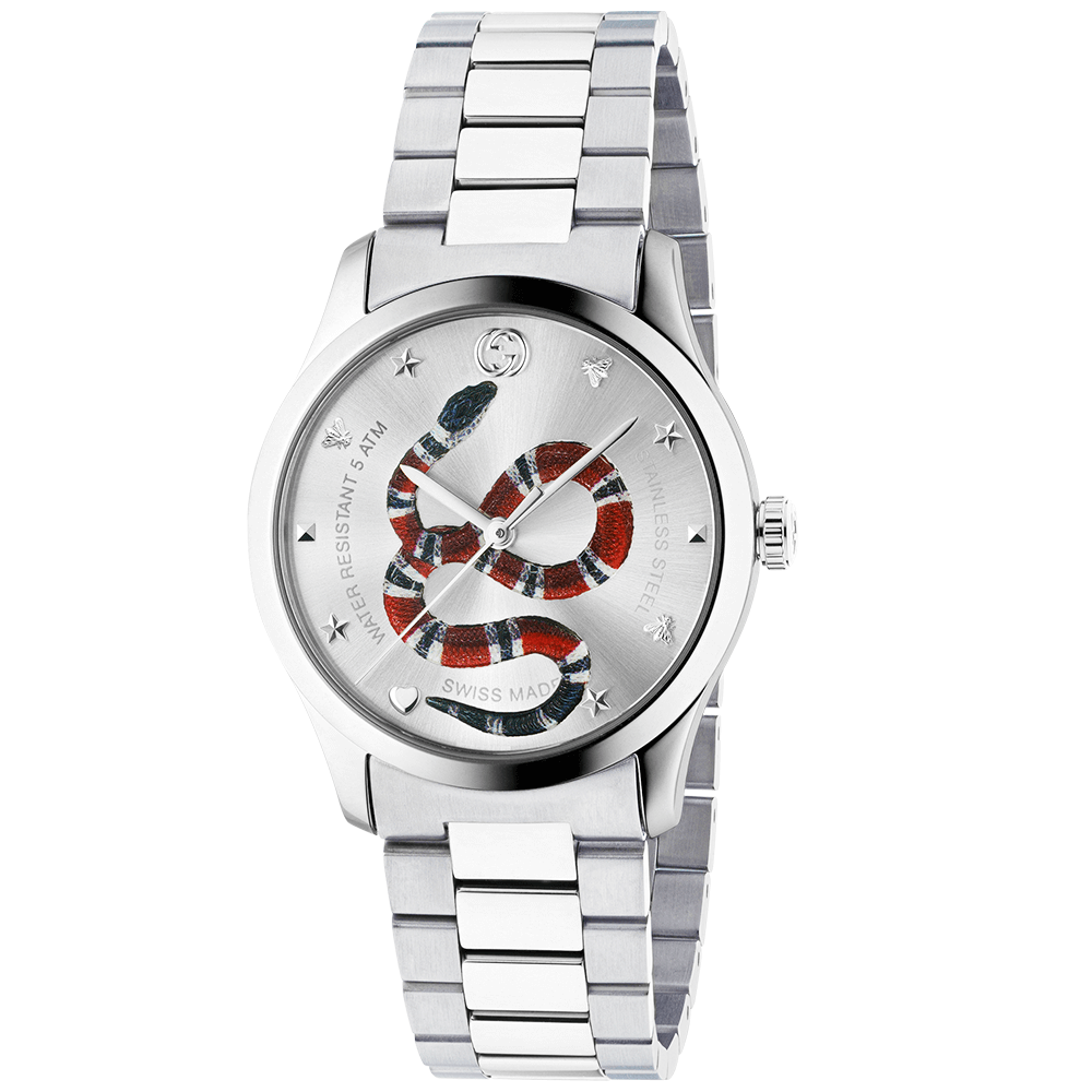 84ea81f3c00 Gucci G-Timeless 38mm Steel   Silver Kingsnake Dial Bracelet Watch