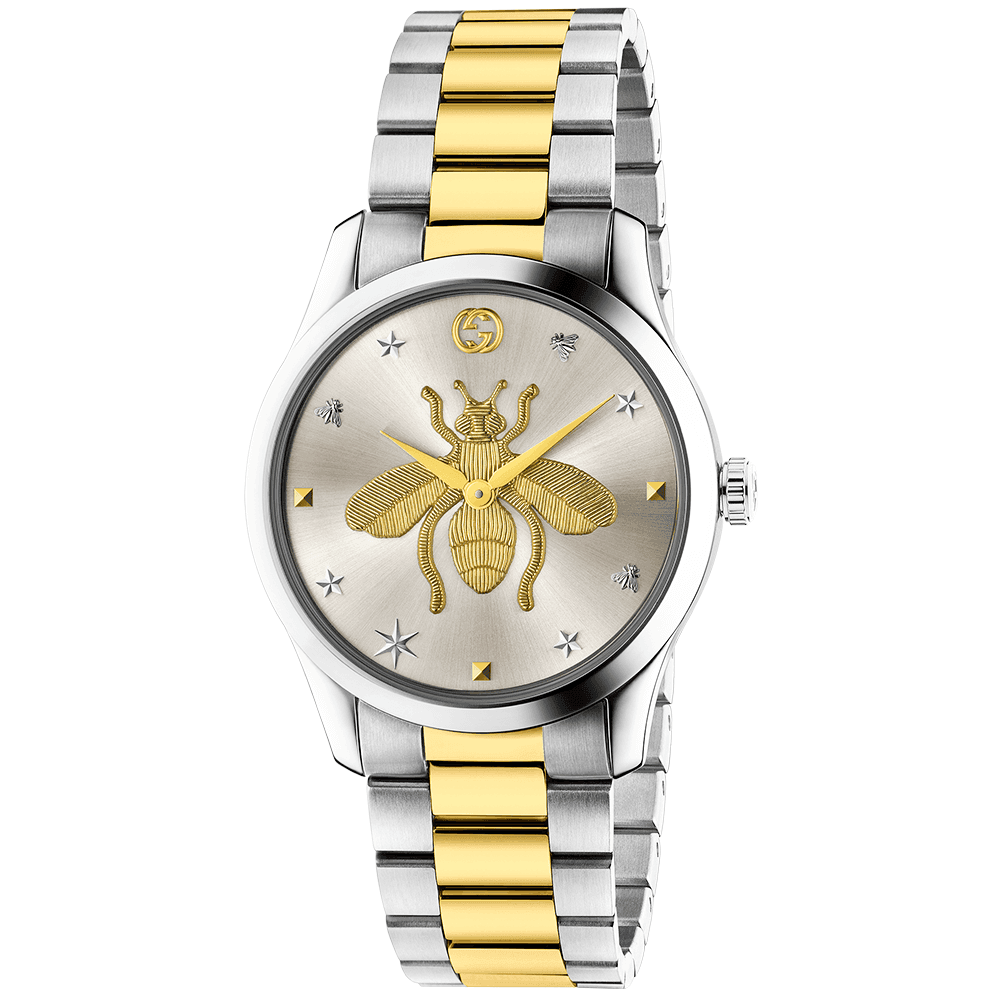 Gucci G,Timeless 38mm Two,Tone Bee Motif Dial Ladies Bracelet Watch
