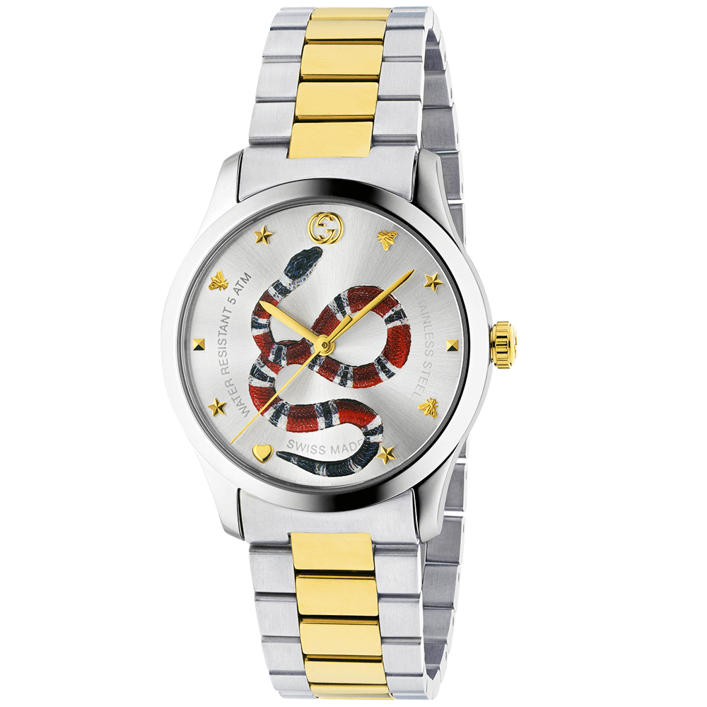 2cacb1e528a Gucci G-Timeless 38mm Two-Tone Silver Kingsnake Dial Bracelet ...