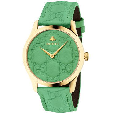 G-Timeless 38mm Yellow Gold PVD & Embossed Green Leather Dial Ladies Watch