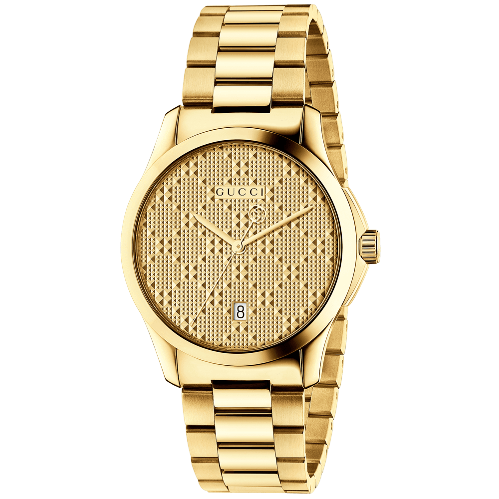 Gucci G Timeless 38mm Yellow Gold Pvd Patterned Dial Watch Ya126461
