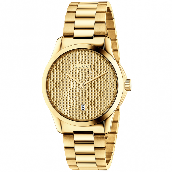 Gucci G-Timeless 38mm Yellow Gold PVD & Patterned Dial Watch