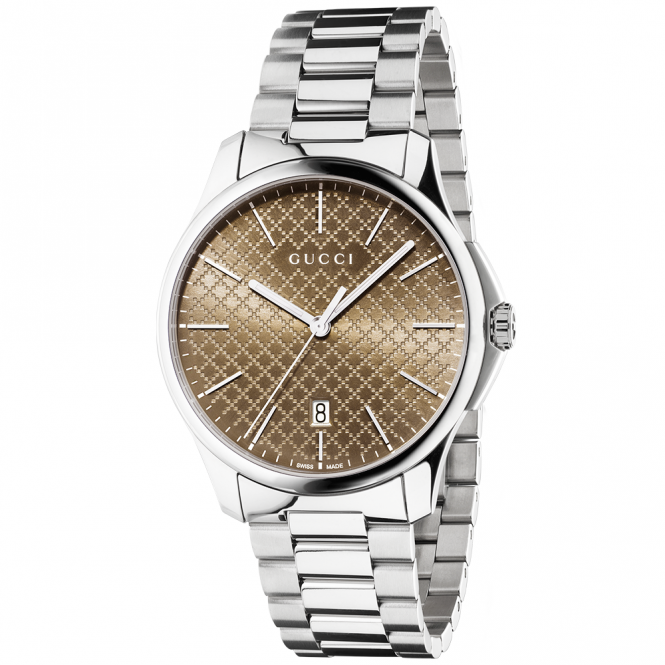 Gucci G-Timeless 40mm Brown Dial & Stainless Steel Bracelet Watch