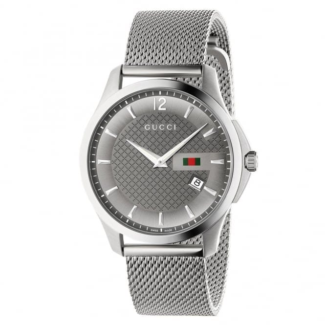 5a4b3a9edb2 gucci g timeless anthracite dial   steel mesh bracelet mens watch ya126315