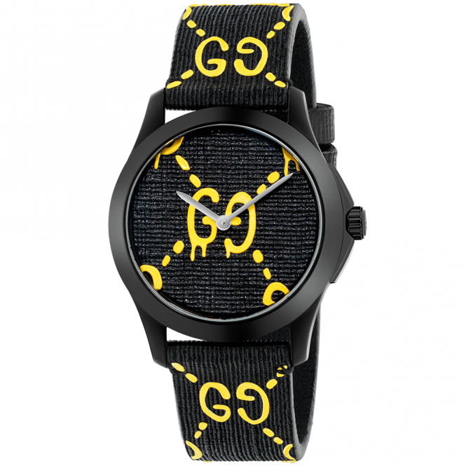 Gucci G-Timeless Ghost Black/Yellow Dial & Strap Watch