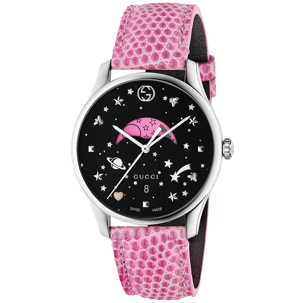 e061f49e83a Gucci Gucci G-Timeless Slim 36mm Black Pink Moonphase Dial   Leather Strap  Watch