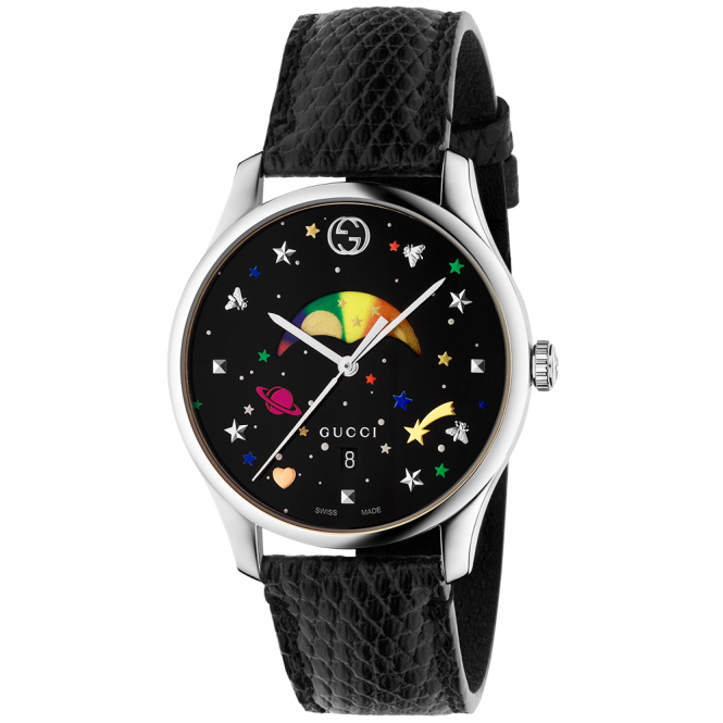 Gucci G-Timeless Slim 36mm Black/Rainbow Moonphase Dial Watch