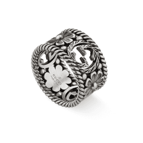 8fb7090e6 GG Marmont Aged Sterling Silver Large Ring With Flower And Interlocking G  Motif