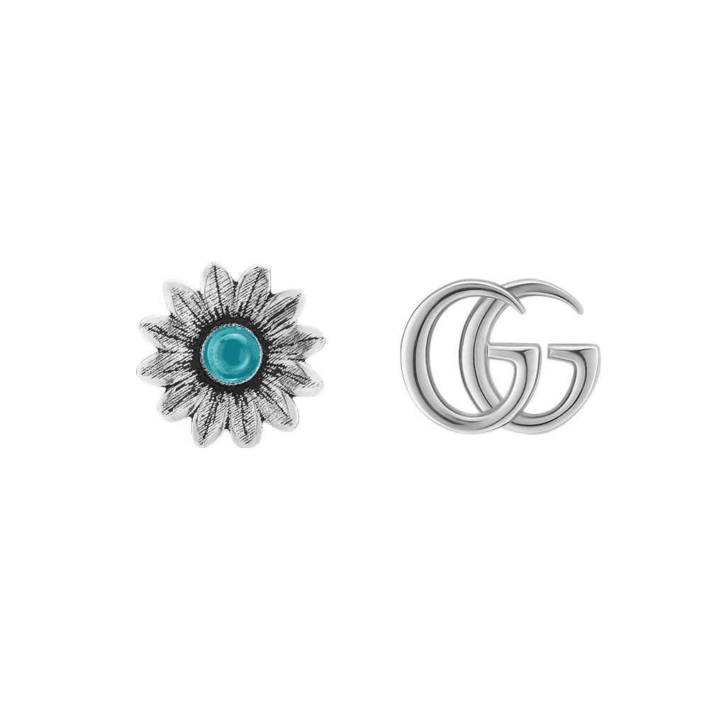 136309696 GG Marmont Sterling Silver And Turquoise Flower Stud Earrings