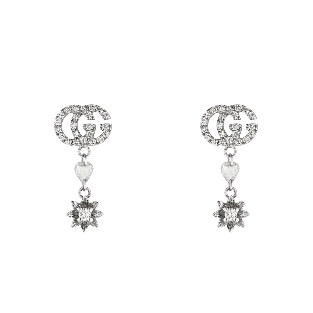 aa7e99abd Gucci Gucci GG Running 18ct White Gold Flower GG Detail Earrings With  Diamonds