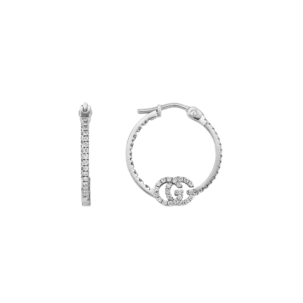 0647d383e Gucci Gucci GG Running 18ct White Gold Small Diamond Hoop Earrings