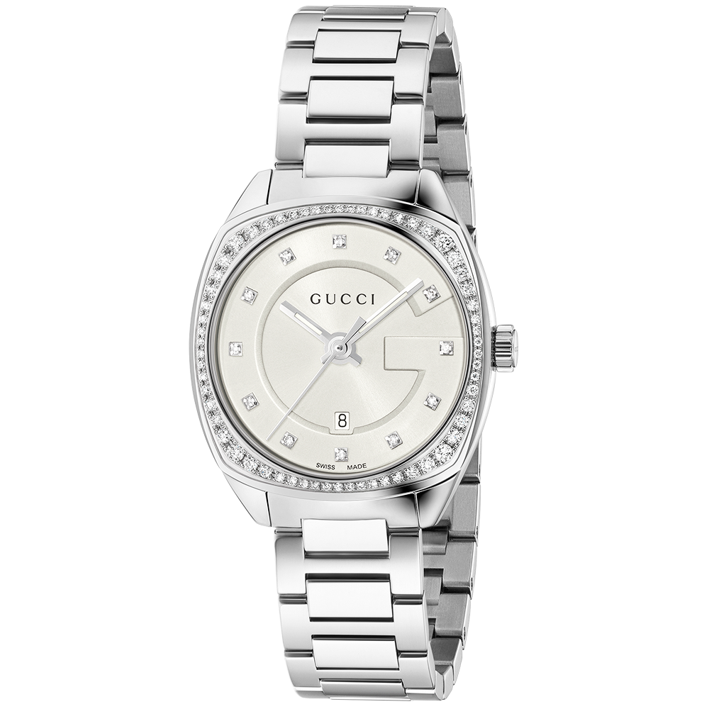 Gucci Gg2570 29mm Silver Diamond Dial Amp Bezel Ladies