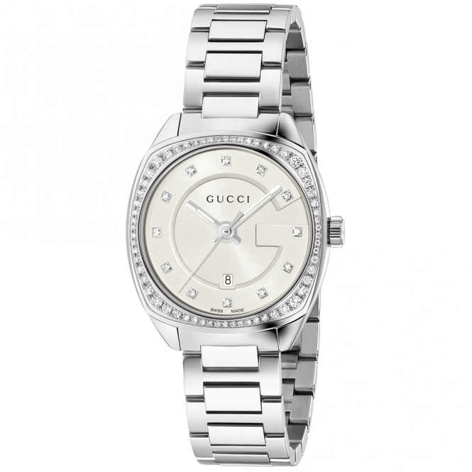 Gucci GG2570 29mm Silver Diamond Dial & Bezel Ladies Bracelet Watch
