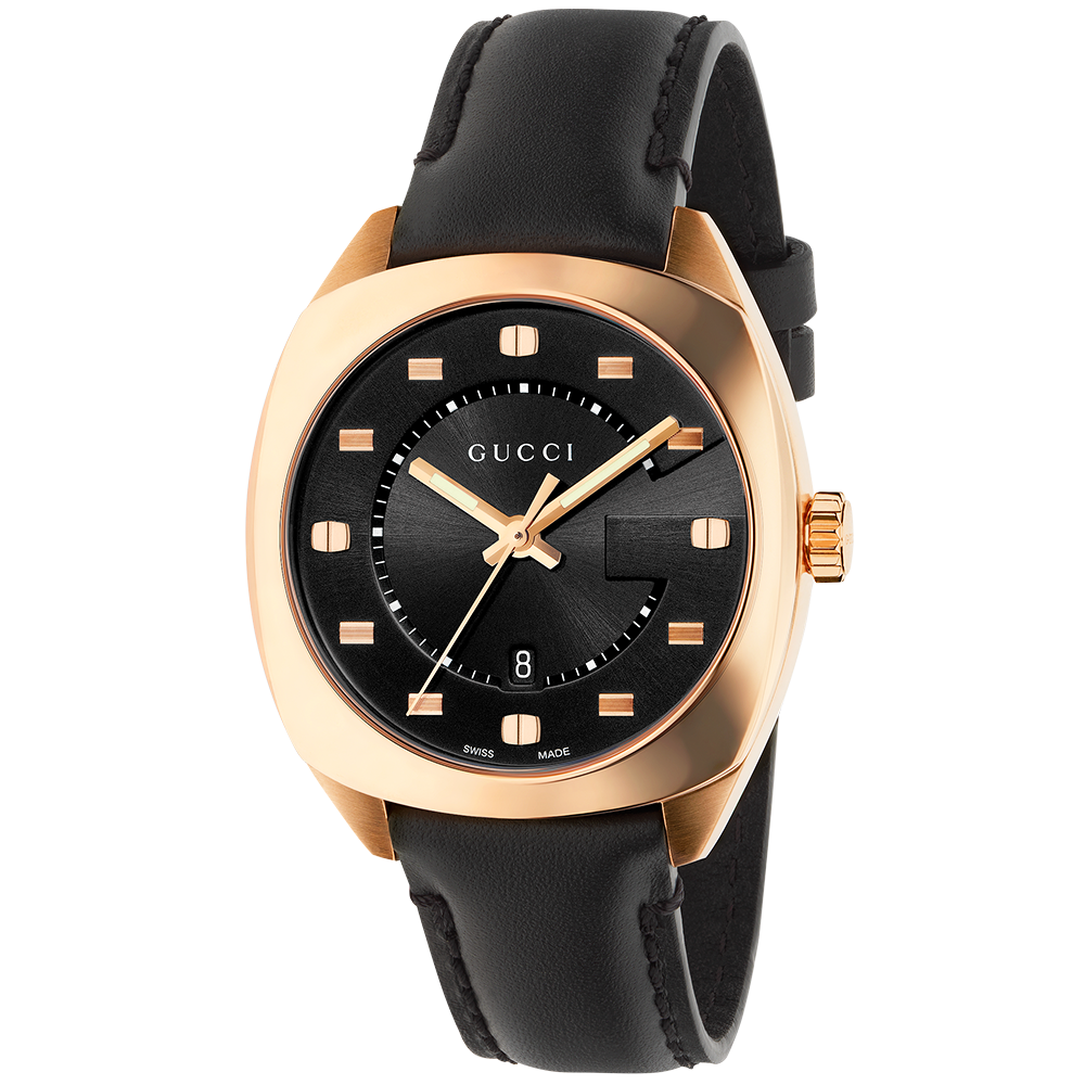 e7c98dcadaa Gucci GG2570 37mm Pink Gold PVD   Black Dial Watch YA142407