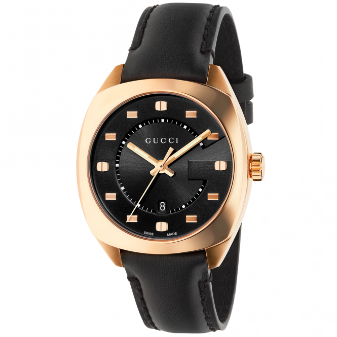 Gucci GG2570 37mm Pink Gold PVD & Black Dial Watch
