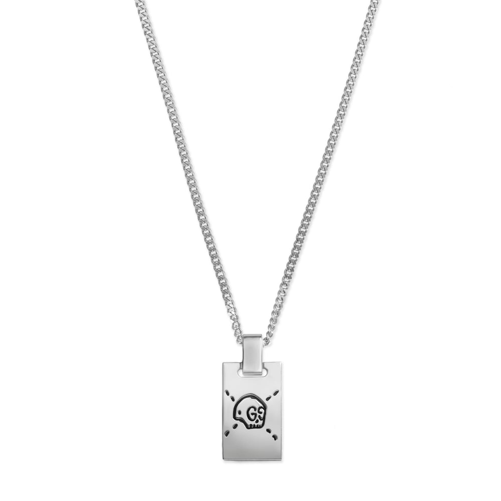 gucci ghost silver skull tag necklace ybb455315001